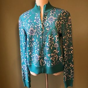 St John Couture Aqua & White Floral Sweater Jacket